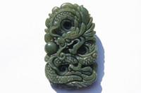 Wholesale Jade Talisman - Hand-carved gray bead jade dragon play. Talisman necklace pendant