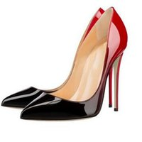 Wholesale Red Sole Women Pumps - 2017 Fashion Pointed Toe High Heels Designer Two Colors Red Bottom Shoes Sexy Shallow Mouth Sole High-heeled Women Wedding Dress Shoes