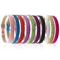 glänzender knopf großhandel-8 MM Pu-leder Metall Armband uhrenarmband glänzende pulver Armbänder DIY Zubehör Fit Slide Brief noosa druckknopf armband