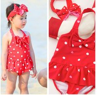 Wholesale Little Girl Beach Suit - New Arrival Little Girls One Pieces Swimwear Bikini Bathing Suits With Headband Summer Beach Bathing Swimming Suit Toddler Clothes