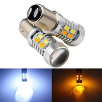Novo 1157 Dual Color Type White Amber Amarelo Switchback LED 5630 20smd LED DRL Turn Signal / Parking Light Bulbs