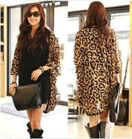 Wholesale Leopard Print Shirts For Girls - 2017 New Western Girl Women Leopard Batwing Sleeve Ponchos Blouse for Women Lady girls Shirts Clothing