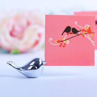 cartões de nome de pássaro venda por atacado-Criativo Cartão De Nome Foto Memo Rack Bonito Pássaros Do Amor Decoração De Mesa De Prata Moda Casal Presente Delicado Assento Clipe 4xd F R