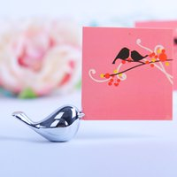 moda kuşlar gümüş toptan satış-Yaratıcı Adı Kart Fotoğraf Memo Raf Sevimli Aşk Kuşlar Masa Dekor Gümüş Moda Çift Hediye Narin Koltuk Klip 4xd F R