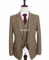 Wholesale Tailor Dresses - 2016 tailor made slim fit suits for men retro Brown Herringbone Tweed wedding dress custom mens 3 piece suit Blazers