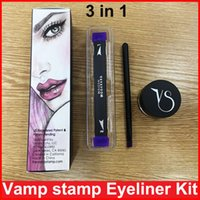 Wholesale Color Stamps - Vamp stamp Winged Liner set double-ended Vavavoom Wing Stamp Vavavoom Medium Large wing stamp with eyliner cream 3 in1 sets DHL free ship