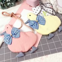 Wholesale Kids Backpack Animal Designs - 10pcs lot The single shoulder bags Children Backpacks Duck shape with bows design Backpacks ConciseTassels Bags Cute Kids Snack bags