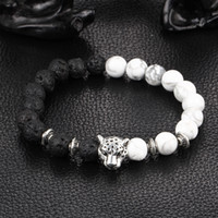 Wholesale Silver Beaded Spacer - Unique Silver Leopard Spacer Beads Black Lava And White Grey Beaded Man Jewelry Bracelet In Bulk