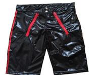 boxers sexy con cremallera al por mayor-Pantalón liso de vinilo de cuero Aspecto húmedo Cremallera delantera Sexy Negro Hombres Boxers Artículo No: W880573