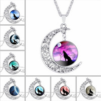 Wholesale Wolf Pendant Necklace Women - Fashion Mens ladies Hollow Moon pendant necklace Time Gemstone Wolf Totem Pendants necklaces Retro alloy chain jewelry For women wholesale