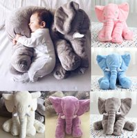 Wholesale Elephant Stuffed - Baby Children Elephant Lumbar Pillow Long Nose Doll Pillow Soft Plush Stuff Toys 23.6*17.7*9.6 Inches