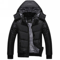Wholesale Waterproof Jacket Wadded - Wholesale- winter 2017 men cotton padded jacket thick hooded jacket Men winter outerwear wadded Waterproof warm duck down & Parkas A1884