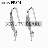 Wholesale Make Drop Earrings - 5 Pairs Earrings Blank 925 Sterling Silver Zircon Hook Earrings Findings DIY Jewelry Making for Drop Pearl