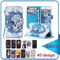 Wholesale Ve Day Cover - Wallet Design For Apple iPhone 6 Case Leather Cover iPhone 6plus 7 7plus Flip Skull have a nice day design