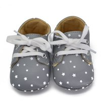 Wholesale China Sneakers Shoes Wholesale - Wholesale- China 0-18M Newborn Kids Baby Shoes Star Pattern Lace Up Soft Sole Sneaker Crib Shoes