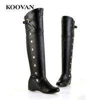 Wholesale white flat thigh high boots - Koovan Rivet Over Knee Women Boots 2017 Hot Sale Autumn Winter Women Shoes High Quality W526