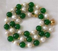 perla verde esmeralda al por mayor-Envío gratis Nuevo 7-8MM White Akoya Pearl Green Emerald Necklace 18