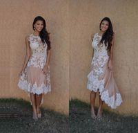 güzel şampanya balo elbiseleri toptan satış-Güzel Yüksek Düşük Şampanya Kokteyl Elbiseleri Özel Stil 2017 Aplikler Kısa Ön Uzun Geri Balo Elbise ballkleider