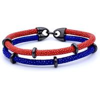 ingrosso venditore di braccialetto-Beichong Best seller Bracciale in stingray a 2 strati con cinturino in pelle di razza stingray placcato in acciaio inossidabile di alta qualità