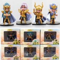 Wholesale Saint Seiya Japan Action Figures - Japan Saint Seiya Anime The Gold Zodiac Nendoroid 9~10cm 6pcs set model action figure Collection chirldren toys boxed T7087