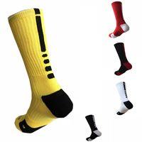 tenis basketbolu toptan satış-Stokta AB ABD Profesyonel Elite Basketbol Çorap Uzun Diz Atletik Spor Çorap Erkekler Moda Yürüyüş Koşu Tenis Spor Çorap