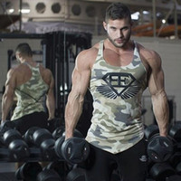 Wholesale New Male Vest Men S - Wholesale- 2017 summer new Men gyms Fitness Bodybuilding Tank Top Camouflage Vest clothing sleeveless shirts Muscle male fashion Brand Slin