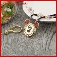 Wholesale Design Mobile Phone Charm - Cute Mickey Design Cartoon Colorful Lanyard Mobile Phone Straps Mobile Phone Neck Hanging Rope Chain Straps Keychain Charm Cords