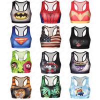 женщина-бюстгальтер оптовых-Человек-паук спортивные бюстгальтеры женщины 3D печати Бэтмен бюстгальтеры Супермен танк череп кошка Тигр жилет фитнес флаг США тренажерный зал эластичные топы