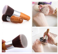 Wholesale Flat Top Buffer - Pro Flat Top Buffer Bamboo Wooden Liquid Foundation Powder Bronzer Makeup Brush
