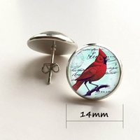 Wholesale Parrot Christmas - Red Parrot Jewelry Parrot Stud Earrings Cardinal Red Bird Stud Earrings Christmas Gift Silver Plated Stud Earrings