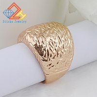 Wholesale gold etching resale online - Charm Etched Alloy Plating KC Gold Ring Wedding Ring