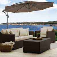 10 'Ft Hanging Big Outdoor Ombrello Patio Sun Offset Mercato Esterno Con Cross Base Tan Red