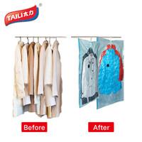 Wholesale Vacuum Saver Bags - Wholesale- Vacuum Bags for Clothes Hanging Wardrobe Storage Organizador Cover for Clothes Space Saver Bag Vacuum Package Storage Bag