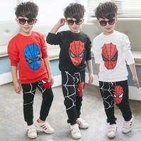 örümcek adam çocuk kıyafeti toptan satış-Örümcek adam Bebek Erkek Çocuk Spor Eşofman Kıyafet karikatür Suit Yaz çocuk boys giyim longsleeve giyim seti