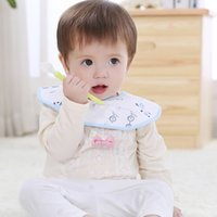 Wholesale One Piece Baby Bibs - Free Shiping! Ten pieces in one packing waterproof baby bibs with three color for baby feeding and dribble