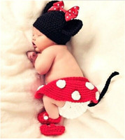 Wholesale Costumes Top Hats - Newborn Baby Girls Crochet Knit Cartoon Costume Photo Photography Prop Outfits Beanie Hat Caps