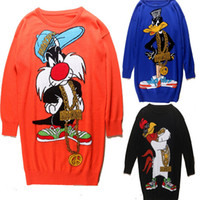 Wholesale Cartoon Clothes Button - New 2016 Autumn Winter Women's Runway Wool Sweaters Dress Casual Cartoon Loose Long Clothing Knitted Sweater Women Pullover W757