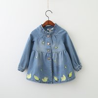 Everweekend Kids Broderie Feuilles New Autumn Long Sleeves Denim Fall Enfants Robe bébé Robe Blue Color