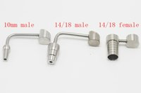 Wholesale titanium 18mm male honey bucket banger resale online - Titanium Banger Honey Bucket mm mm Female and male joint Titanium Nail for oil rig Glass water Bongs smoking pipes