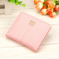 Wholesale Korean Girl Wallets - New Lady Girl Candy Colors Cute Wallets Small Short Wallet Coins Purse Card Holder Women Bifold Black Blue Pink Grey A329