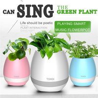 Wholesale Pots Phone - Plastic white pink blue cute music bluetooth speaker flower pot planter nursery pots for home office decoration musical speakers