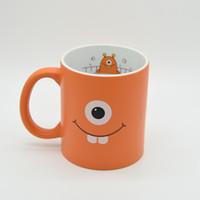 Wholesale Eye Mug - 2017 Fashional Single Eye Ceramic Coffee Mug Orange Color Milk Cup Personality Office Gifts Free Shipping