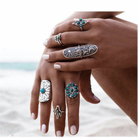 Wholesale Turkish Engagement Bands - 9PCS Set Bohemian Retro Turkish Midi Ring Set Punk Flower Arrow Knuckle Rings For Women Joint Ring Jewelry Lot 10 Sets