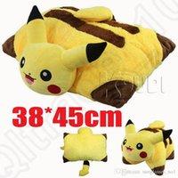 Wholesale Doll Gif - Poke Plush Pillow 38*45cm Pikachu Throw Pillow Cushion Toy Soft Stuffed Doll For Kids Christmas Gif LJJO860
