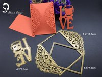 Wholesale Diy Greeting Cards - METAL CUTTING DIES 3pcs DIY Scrapbook album PAPER CRAFT embossing stencils template love greeting card frame rectangle cutter