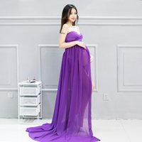 Wholesale Solid Light Blue Ball Gown - Purple Light blue Maternity Dresses Sleeveless Photography Props Pregnant Women Long Dress Elegant Pregnancy Clothes Free Size