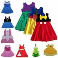 Wholesale Minnie Vest - Girl Summer mermaid elsa anna Dress Children Cartoon snow white Minnie fish scale bowknot sleeveless vest belle green fairy princess dresses