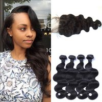 Wholesale Machining Parts Products - G-EASY hair products peruvian body wave virgin hair bundles with closure free part 100% human hair 4x4 wavy lace closure