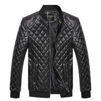 bisikletçiler motosiklet giysileri toptan satış-Marka Erkekler Ceket PU Deri Mont Biker Motosiklet Ceketler Sonbahar Bahar Giysileri Dış Giyim Palto Boy Büyük Boyutu 3XL Tops Siyah