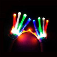 Wholesale Prop 14 - A Pair LED Color Changing Lighting Gloves Flashing Skeleton Hallowamas Stage Props Flash Gloves For Holiday Party Events Shows
